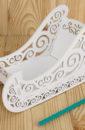 """ПОД ЗАКАЗ Подарочная упаковка """"Сани"""" МИНИ, с вензелями (23*10*14) МДФ 3мм, окрашен., Белый, 1 шт."""