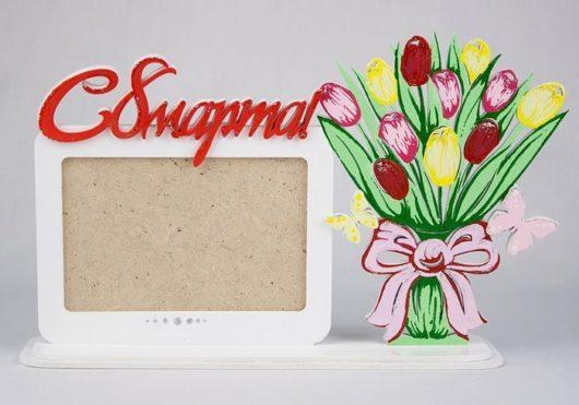 """Рамка для фото """"8 марта"""" с тюльпанами (31*7*19)"""