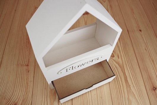Ящик Домик  с выдвижным ящиком  20,5*10*30,5 см