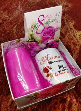 """Подарочный набор """"Маме"""" (кружка, чай, свеча 14 см)"""