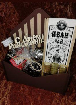 """Набор """"Мужик крепкий 100%"""" чай чёрный 100 гр,бутылочка шампанского, орешки в шоколаде, шоколад LINDT, заварник металл, деревянный ящик и деревянная надпись"""