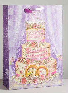 Большой пакет ламинированный вертикальный с блёстками «Подарок на свадьбу», 51 × 71 ×10 см В НАЛИЧИИ