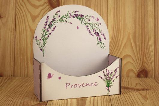 Конверт деревянный для цветов и подарков Прованс с лавандой 18*8*20 см в наличии