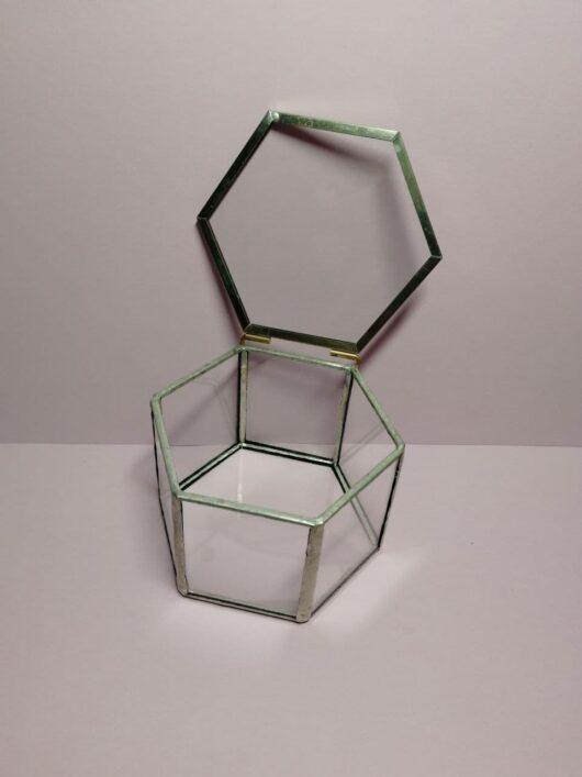 """Шкатулка """"Geometria"""" 7,5*6,5*5 см из стекла и металла для колец цвет """"под серебро"""" В НАЛИЧИИ"""