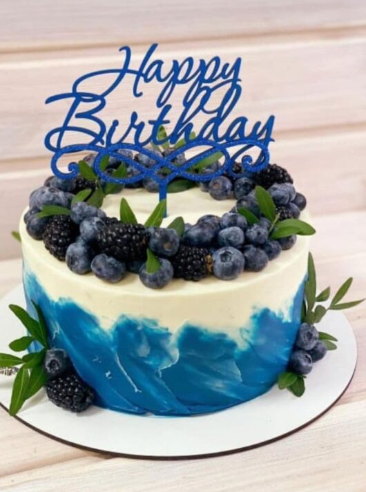 """Топпер  из синего оргстекла """"Happy Birthday""""   под заказ"""